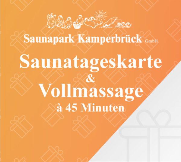 Saunatageskarte und Vollmassage für 45 Minuten